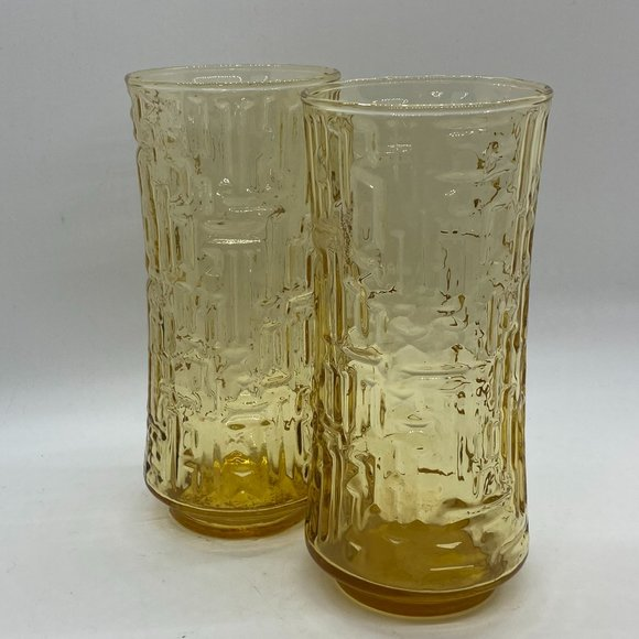VINTAGE MC BRUTALIST Amber Glass Water Drinking